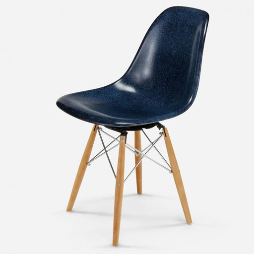 modernica fiberglass swivel side shell case study chair maple zinc indigo