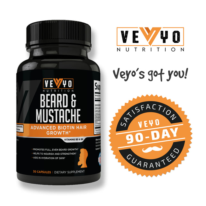 Beard Growth by VEYO Nutrition w/ Biotin for Fast Results