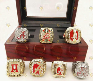 Alabama Crimson Tide College Football National Championship Ring Set of 7 (1992, 2009, 2011, 2012, 2015, 2015)