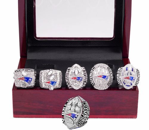New England Patriots Super Bowl Ring Set (2002, 2004, 2005, 2015, 2017, 2019) - Brady