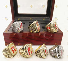 Load image into Gallery viewer, Alabama Crimson Tide College Football National Championship Ring Set of 7 (1992, 2009, 2011, 2012, 2015, 2015)