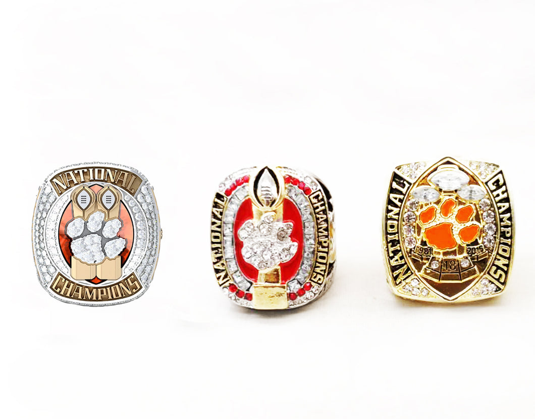 NEW Clemson Tigers College National Championship Ring Set (1981, 2016, 2018)