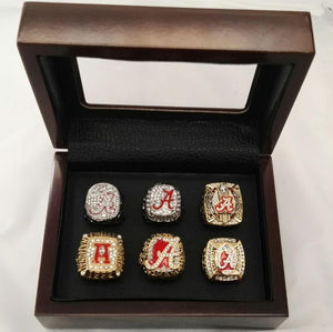 Alabama Crimson Tide College Football Championship Ring Set (1992, 2009, 2011, 2012, 2015, 2015) - NCAA - Championship Flagz For Fans