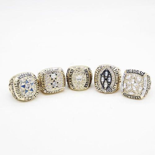 Dallas Cowboys Super Bowl Rings (1971, 1977, 1992, 1993, 1995) Set