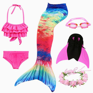 2019 New!Little Mermaid Tails for Swimming Costume Mermaid Tail Monofin Kids Swimmable Bikini Swimsuit Dress With Fin swimwear