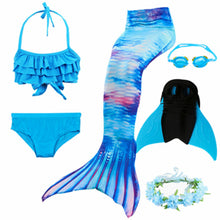 Load image into Gallery viewer, 2019 New!Little Mermaid Tails for Swimming Costume Mermaid Tail Monofin Kids Swimmable Bikini Swimsuit Dress With Fin swimwear