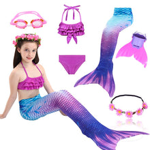 Load image into Gallery viewer, Girls Swimming Mermaid Tail Cosplay Costume Swimsuit With or Without Monofin Fin Flipper Kids Swimmable Children Swimwear Set
