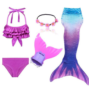 Girls Swimming Mermaid Tail Cosplay Costume Swimsuit With or Without Monofin Fin Flipper Kids Swimmable Children Swimwear Set