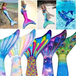 2019New Swimwear Tail+Flipper 2pcs Girls Gilding Mermaid Tail Princess Ariel Bikini Swimsuit Dress Costume