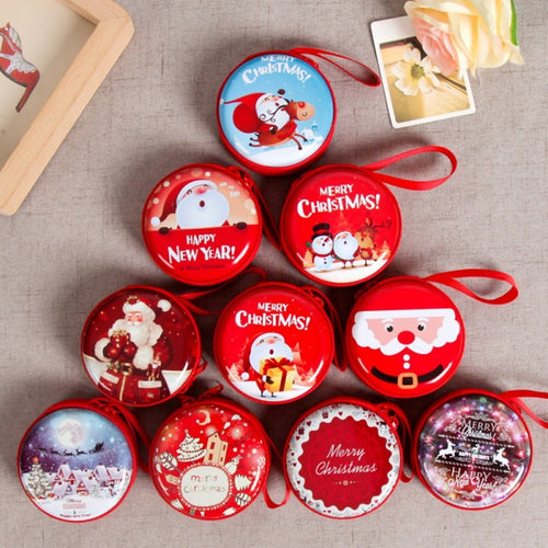 Mini Tin Box Sealed Jar Christmas Coin Storage Cans Earrings Headphones Storage Kids Xmas Tree Decoration Candy Box Baroque