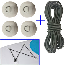 Load image into Gallery viewer, Inflatable Boat Stand up Paddleboard SUP Bungee Deck Rigging Kit Steel D Ring PVC Pad Patch with Elastic Bungee Shock Cord Rope