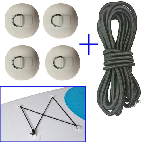 Inflatable Boat Stand up Paddleboard SUP Bungee Deck Rigging Kit Steel D Ring PVC Pad Patch with Elastic Bungee Shock Cord Rope