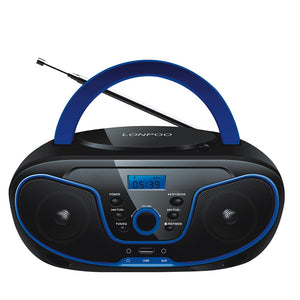 LONPOO CD Player Bluetooth Speaker Boombox AUX USB FM Radio Wireless Stereo Portable Speaker Earphone CD Player