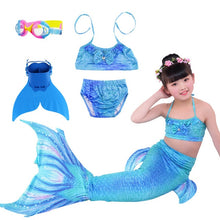 Load image into Gallery viewer, 2019 3PCS/Set HOT Kids Girls Mermaid Tails with Fin Swimsuit Bikini Bathing Suit Dress for Girls With Flipper Monofin For Swim