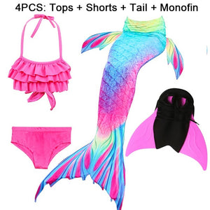 Children Ariel Little Mermaid Tails for Swimming Costume Mermaid Tail With Monofin Cosplay Girls Swimsuit Kids Swimmable suit