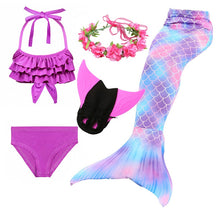 Load image into Gallery viewer, 4PCS/Set The Little Mermaid Tail Costume Princess Ariel Mermaid Tail For Swimming Girl Fancy Bikini zeemeerminstaart met monofin