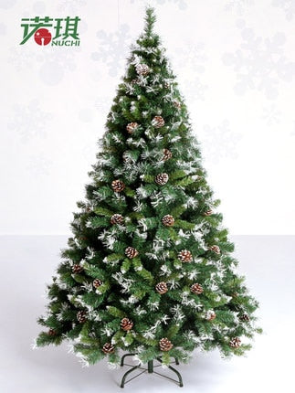 NUCHI  2.1Meters Christmas Day Artificial Christmas Tree With Pinecone Spray white effect Holiday necessities Fake Pinetree