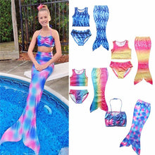 Load image into Gallery viewer, 3 Pcs Girls Rainbow Mermaid Tail Swimwear Bathing Suit Cosplay Costume Bikini Swimsuit Swimming Suits Swimmer Clothes