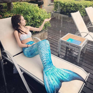 2018 Mermaid Tail for Swimming With Monofin Mermaid Swimsuit Adult Female Tail Swimsuit Can Swim Sexy Dress Pearl Bra For Women