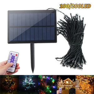 100LED/200 LED Solar Light String Upgraded Solar Panel with Remote Garden Christmas Tree Fairy Tale Festival Lighting Decora