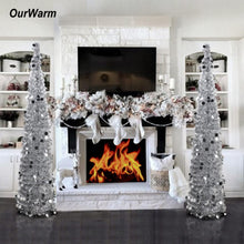 Load image into Gallery viewer, OurWarm 1.5M Collapsible Artificial Christmas Tree Tinsel Sequins Pop up Tree with Stand New Year Present Christmas Decoration