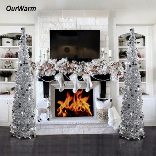 OurWarm 1.5M Collapsible Artificial Christmas Tree Tinsel Sequins Pop up Tree with Stand New Year Present Christmas Decoration
