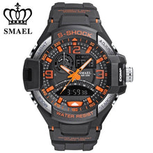 Load image into Gallery viewer, Fashion Brand Smael Watch Men Sports Watches Dual Time Analog Digital Quartz Watch 5ATM Water Proof Outdoor Military Watch Men