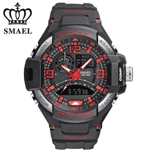 Fashion Brand Smael Watch Men Sports Watches Dual Time Analog Digital Quartz Watch 5ATM Water Proof Outdoor Military Watch Men
