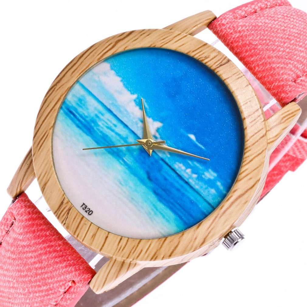 Trendy Quartz Watch Cowboy Cloth Strap Beach Pattern Round Dial Quartz Watches Exquisite Workmanship Casual High Quality