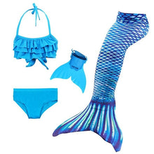 Load image into Gallery viewer, Girls Swimming Mermaid Tails Cosplay Costume Little Children Mermaid Swimsuit Bikini Set for Kids Tails with/no Monofin Swimwear