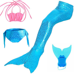 Little Mermaid Tails for Swimming Costume Mermaid Tail Cosplay Girls Swimsuit Kids Children Swimmable suit Monofin Cola De Siren