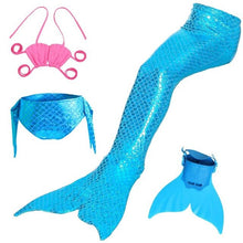 Load image into Gallery viewer, Swimmable Children Mermaid Tails With Monofin Fin Bikinis Set Girls Kids Swimsuit Mermaid Tail Cosplay Costume for Girl Swimming