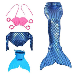 Swimmable Children Mermaid Tails With Monofin Fin Bikinis Set Girls Kids Swimsuit Mermaid Tail Cosplay Costume for Girl Swimming