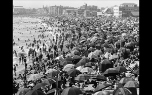 1930s Vintage Venice California Crowds Beach Scene Photo Repro Surf Swim Dudes