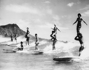 Vintage Hawaii Surfing Photo Repro Surfboard Longboard Tandem Surf 12x18
