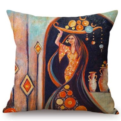 Islamic Painting Art Arab Woman Carrying Plate Muslim Home Decoration The Lounge Depot