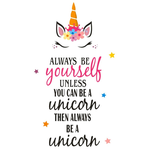 Be A Unicorn Quote Kid Cartoon Home Room Wall Sticker Vinyl Art Decals Decor