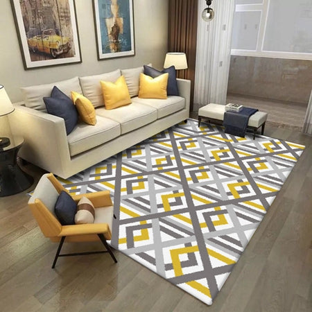 Nordic Style Carpets For Living Room Simple Yellow Grey Striped Carpet Big  Size High Quality Home Mat Modern Thick Parlor Rugs