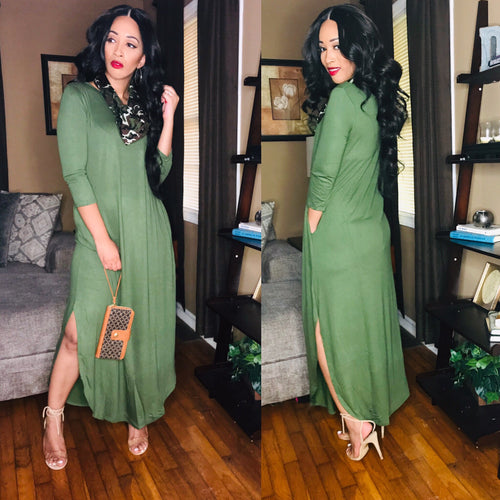 Amy (Army Green)-Dresses-Fierce Impression Boutique