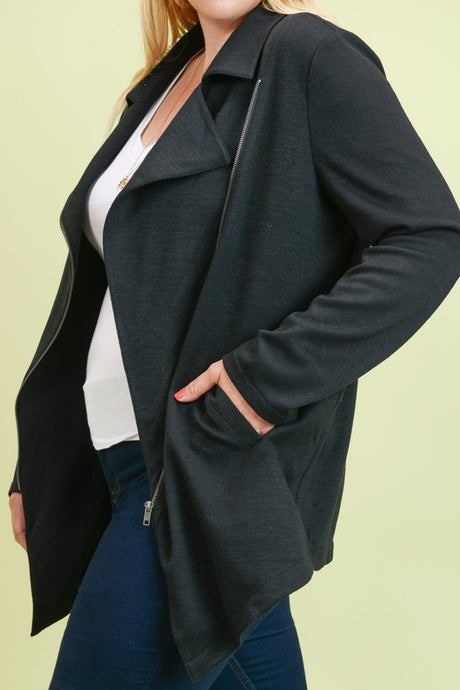 Black asymmetrical zip jacket