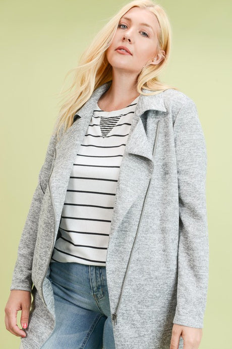 Gray asymmetrical zipper jacket