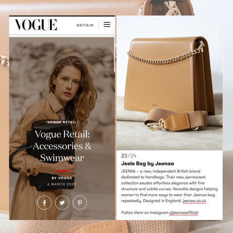 Jeenaa bags featured in British Vogue April 2020