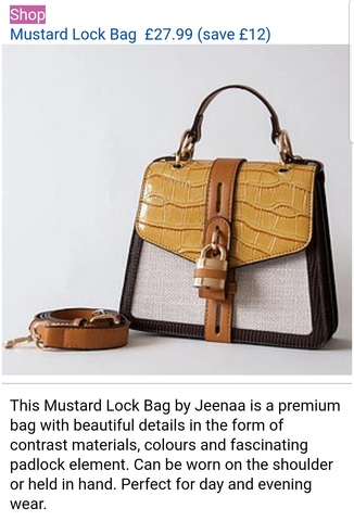 Jeenaa bag featured in Daily Mail