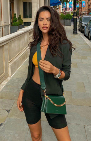 Hammasa wearing Jee Emerald Bag, Jeenaa Bags