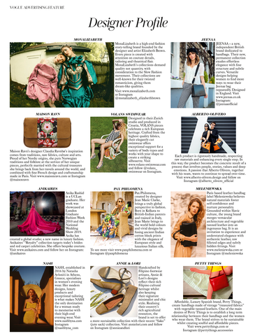 Jeenaa bags featured in British Vogue April 2020 magazine