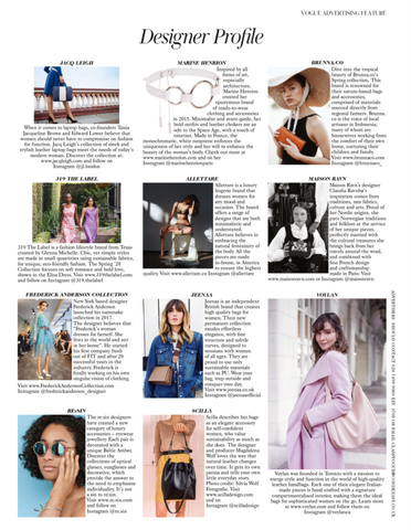 Jeenaa bags featured in British Vogue March 2020