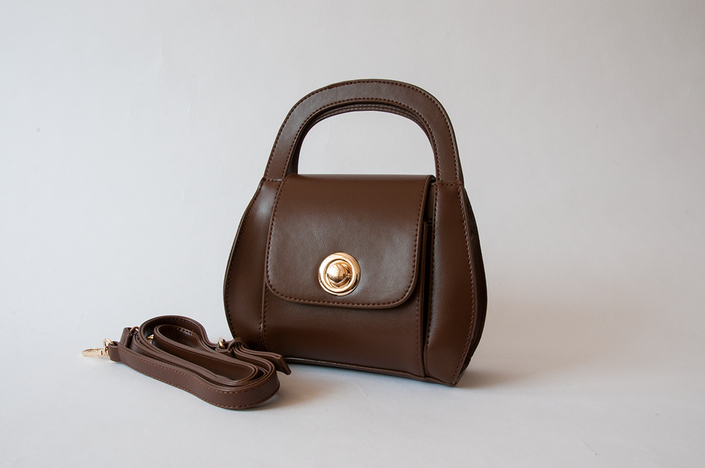Curved Brown Bucket Bag
