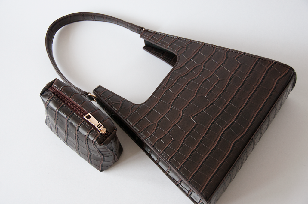 Jiyo Croc-Brown Bag - Women's Handbag - Shoulder Bag