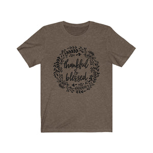 (Soft Unisex Bella) Thankful & Blessed Wreath-T-Shirt-Ellas-Canvas-DesIndie