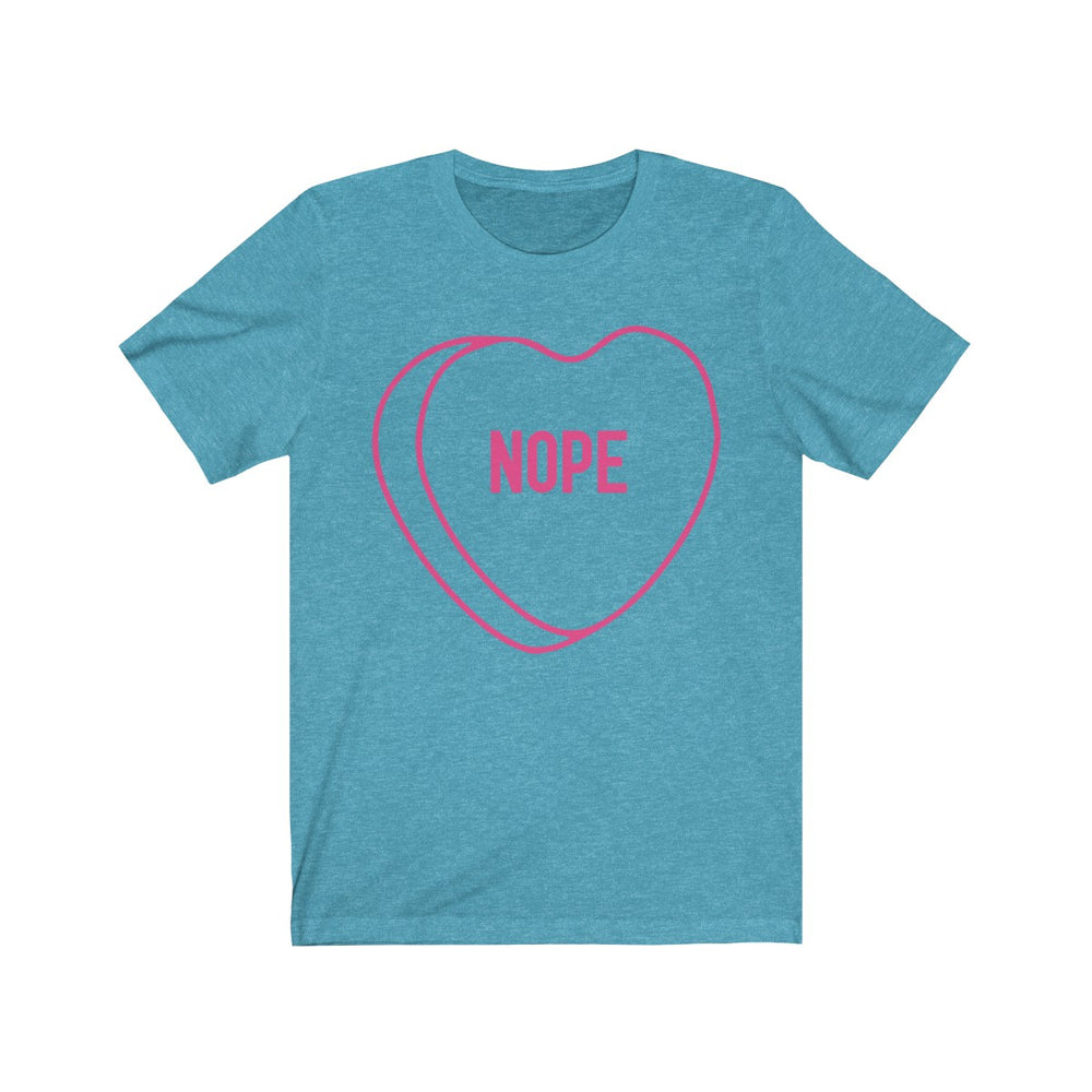 (Unisex Soft Bella) Conversational Heart Outline Costume Tee - NOPE